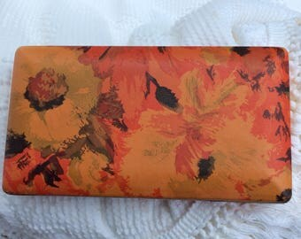 Vintage Mele made in USA travel jewelry box orange floral