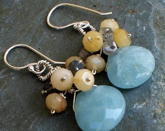 Chrysophase Earrings with Labradorite and Citrine Sterling Silver dangle earrings
