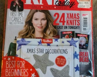 NIP Knit Today Magazine, No. 119, December 2015 with Free Yarn plus pattern for Christmas Star Decorations