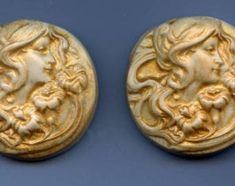 Sale !  2  Golden Polymer  Cabs Un drilled Art Nouveau faces SANP 6