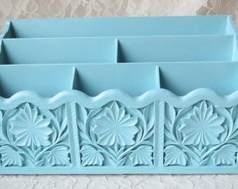 Desk Mail Organizer Vintage Aqua Blue Painted Lerner's Carved Faux Wood Upcycled for Home or Office