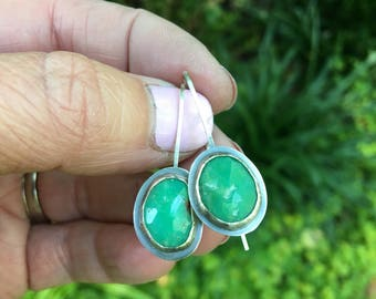 faceted chrysoprase earrings - rustic oxidized sterling silver