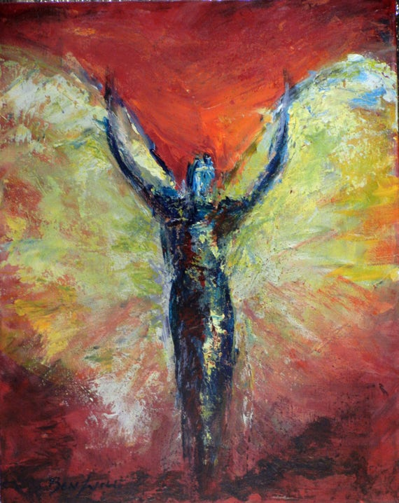 Angel Art Oil Original Painting Red Gold INVICTUS Vision of Angels 20x16 by BenWill