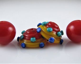 Funky Caps with Red Hollow Lampwork Glass Bead Pair