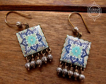 Mexican Wedding earrings, Mexican pottery pattern, Fiesta Jewelry, Mexican Earrings, latin earrings, Ethnic Jewelry, Day of the Dead, tile