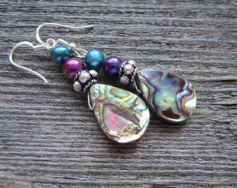 Abalone and Freshwater Pearl Earrings, Paua Shell  Teardrop Earrings, Drop Earrings, Summer Earrings, Under 20