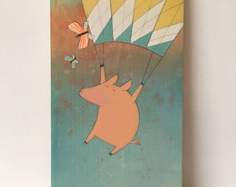 Little Piggy and Butterflies -  Original Painting on Wood