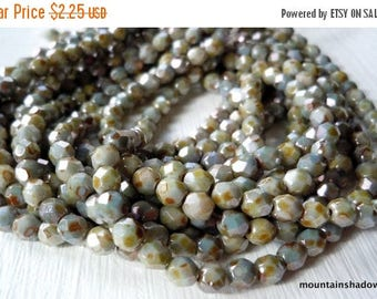 25% OFF Summer Sale Czech Glass Beads 4mm Faceted Round Opaque Antique Green Luster 50 pc (G-87)