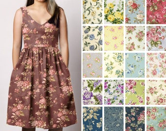 Fit and Flare V-neck Dress with pockets – Short custom Bridesmaid  - Floral print rustic country wedding ivory pink tan