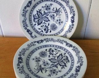 march madness 4 vintage dark blue floral melmac saucers Texasware