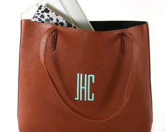 Monogram Large  Faux Leather Tote | Camel Leather Tote | Navy Leather Tote | Grey Leather Tote | Beige Leather Tote | Vegan Leather Tote Bag