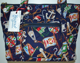 Quilted Fabric Handbag Navy Blue with Boat Nautical Theme
