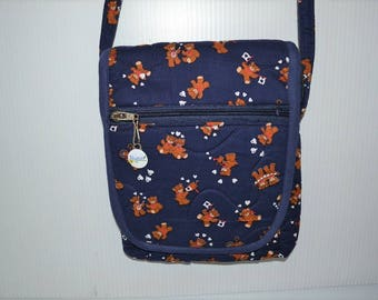 Quilted Fabric Cross Body  Hip Bag Navy Blue with Adorable Teddy Bears