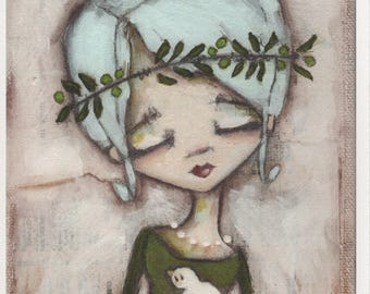Print of my Original Whimsical Motivational Inspirational Mixed Media Painting - Within Our Grasp