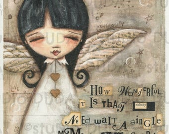 Print of my Original Whimsical Mixed Media Angel Painting - No Need to Wait