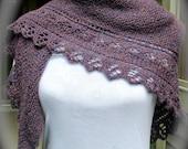 Women's knit shawl, pashmina wrap, purple shawl, lace knit wrap, large shawl, fall winter shawl, lace edged shawl in purple heather.