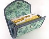 CASH / COUPON / RECEIPT Organizer - Aqua Daisy Bunches - Coupon Organizer Cash Budget Receipt Organizer Organiser Aqua Blue Yellow