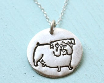 ON SALE BULLDOG silver pendant - illustration by Gemma Correll - handmade sterling silver necklace by Chocolate and Steel