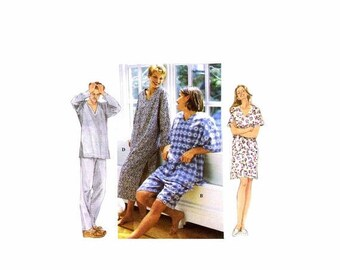 SALE Misses Mens Teens Pajamas Nightshirts Sleepwear Simplicity 9391 Sewing Pattern Size XS-S-M Bust / Chest 30 - 32 - 34 - 36 - 38 - 40 Unc
