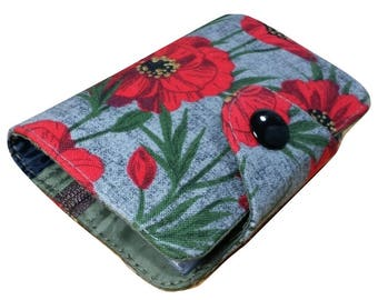Red poppy Women wallet Mini  wallet zippered coin slot vegan wallet credit card id cotton card case