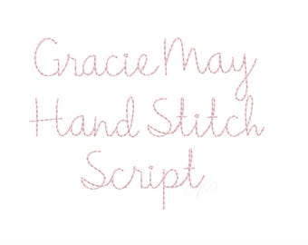 "2"" Gracie  Handstitch Script Machine Embroidery Font Hand Stitch Monogram Instant Download  BX PES"
