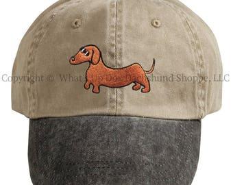 Embroidered Red Smooth Dachshund Ball Cap / Khaki