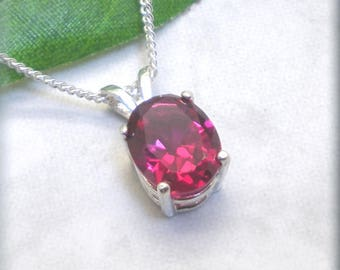 Oval Ruby Necklace, 925 Sterling Silver, Lab-Created Gemstone, Ruby Pendant, July Birthstone Jewelry, Red Gemstone Jewlery (SN1054)