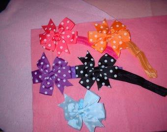 3  inch  Hair Bows on headbands 3VC  total of 5