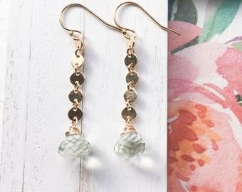 Green Amethyst Sequin Drop Earrings in Gold