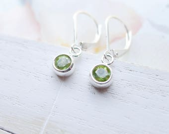Peridot Earrings Lever back August Birthstone Jewelry Faceted Gemstone Gift Handmade Sterling Silver Dangle