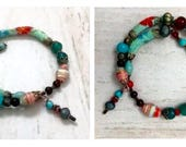 Turquoise and Tangerine Dreams- One of a Kind Bracelet