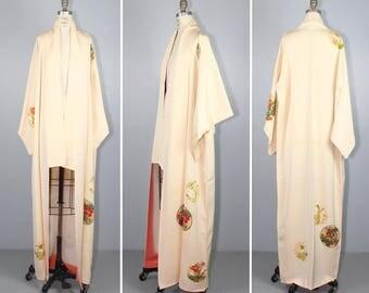 vintage kimono / silk robe / STAINED GLASS floral 1950s silk kimono / dressing gown