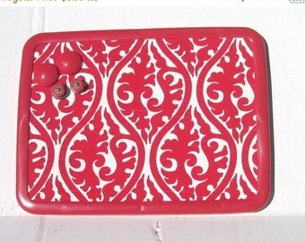 July 4th Sale Lipstick Red Damask Magnetic Board Magnetic Bulletin Board Magnet Board, Magnetic Memo Board, 8x11,  Kitchen Decor Teens Bedro