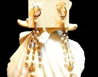 July 4th Sale Carolee Chandelier Earrings, Vintage Carolee Pearl Earrings, 1970 Chandelier Pearl Earrings, Gift For Her