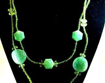 Lime Green Seed Bead Necklace Vintage Bead Necklace Two Strand Layer Necklace 20 Inch Necklace 1970 Green Necklace Costume Jewelry