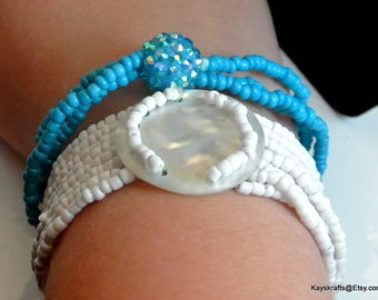 Two Seed Bead Vintage Bracelets White Sea Shell Seed Bead Bracelet Turquoise Seed Bead Bracelet Stretchable Bracelets