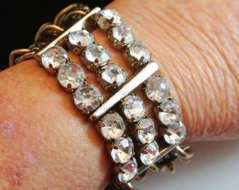 Large Rhinestone Cuff Bracelet Vintage Rhinestone and Silver Chain Bracelet 3 Chain Strand Cuff Silver Chain Cuff