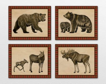 Set of Four Rustic Woods Wall Art Prints. Cabin,woodland decor. Coordinates with Northwoods crib bedding.