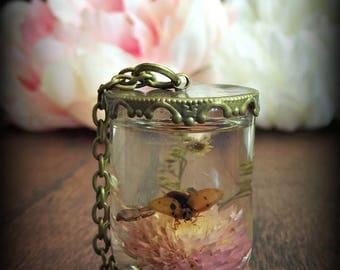 Blossom & Ladybug Specimen Pendant