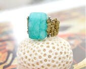 Amazonite Ring / Hemp Ring / Hand Knotted Ring / Amazonite Hemp Ring / Hemp Jewelry / Statement Ring