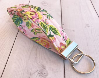 Floral Key Fob Gift For Her Rifle Paper Co Hand Wrist Lanyard Key Holder Pink Wrist Strap Keychain  Gift For Women Teacher Gift