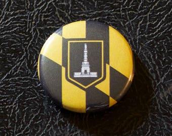 "1"" Baltimore MD flag button - Maryland, city, pin, badge, pinback"
