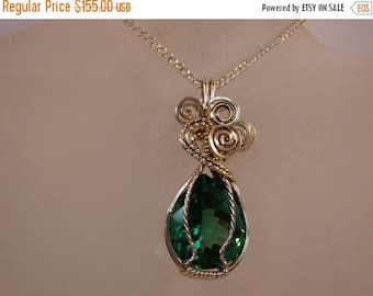 Moving Sale 40% Off Sterling Silver Pear Shaped Green Amethysy Pendant Wire Wrapped