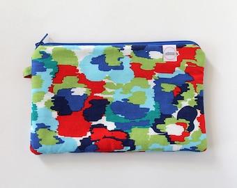 Small zipper pouch, cash envelope, Eyeglass case, Pen pencil, cash wallet, Cosmetic makeup bag, sunglasses, purse organizer, Watercolor Blue