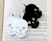 Acrylic Skull Earrings in White or Black - Halloween Goth Psychobilly Witchy Jewelry