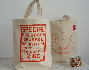 Satuday Morning screenprint shopper tote bag - orange