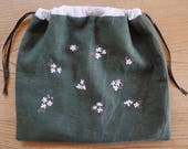 flowers on green - hand-embroidered project bag