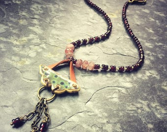 Spotted Moth Necklace with Garnets and Leather