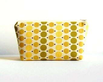 Cosmetic Case, Makeup Bag, Zipper Pouch, Toiletry Storage, Pear Dots, Denyse Schmidt County Fair