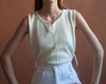 pale yellow knit tank top / cotton ramie sleeveless top / simple top / s / m / 2569t / B18